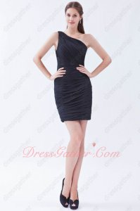 Simple One Shoulder Pin-tucks Black Chiffon Package Hips Night Club Little Dress