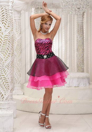 Sweetheart Fuchsia and Black Zebra Multilayers Cocktail Dress Under 80 Dollar