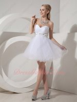 Pure White Tulle Puffy Knee Length Princess Short Celebrity Party Gowns Very Cheap
