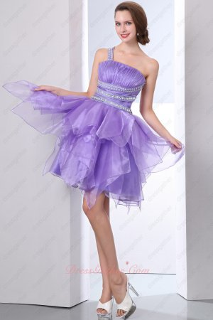 Dark Bright Lavender Inverted Triangle Organza One Shoulder Short Cocktail Dressing