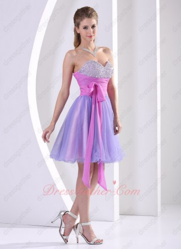 Flattering LilacLining/Bowknot Lavender Tulle Emcee Short Prom Party Dress Best Choice