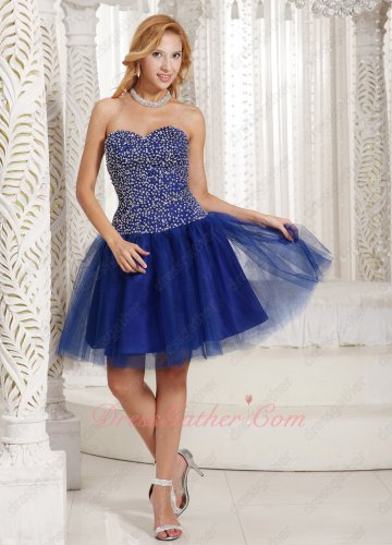 Noble Serried Silver Beading Dropped Waist Blouse Royal Blue Tulle Short Choir Dress