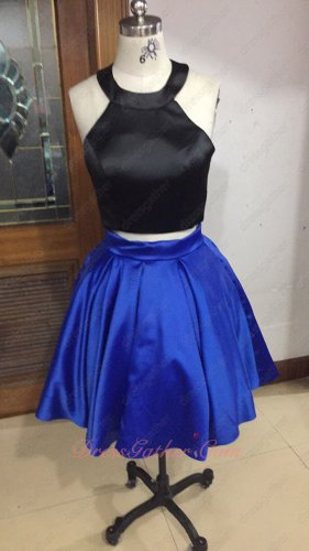 Scoop Neck Black Satin Twinset Royal Blue Party Dress Back Cut-out