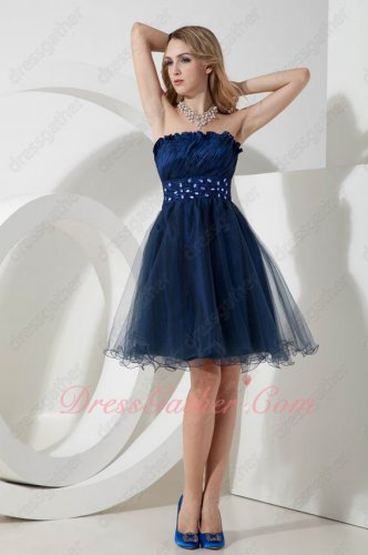 Strapless Navy Blue Taffeta and Tulle Evening Celebrity Little Dress Daughters