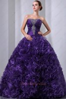 Floor Length Fully Ruffles Skirt Blue Purple Elegant Ball Gown For Women