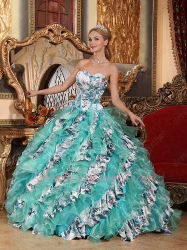 Apple Green Organza and Printed Floral Pattern Oblique Layers Quinceanera Ball Gown