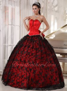 Lace Up Front Bust Bowknot/Ribbon Back Red Ball Gown Covered With Flat Black Lace