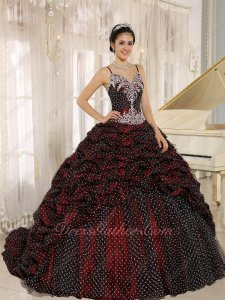 Gracile Straps Bubble Train Burgundy Quinceanera Gowns Full Covered With Wave Point