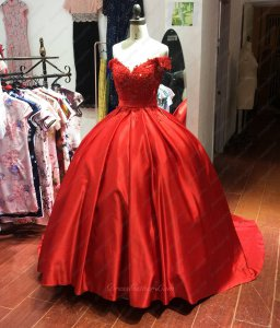 Off Shoulder Red Satin Pocket Quinceanera Ball Gown Girls' Sweet 16 Birthday Gift