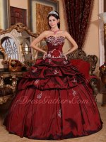 Silver Embroidery Puffy Taffeta Aulic Palace Ball Gown 2020 Pop Color Burgundy