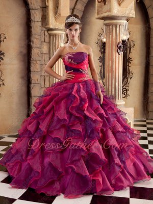 Fuchsia/Purple Mixed Skirt Strapless Quinceanera Ball Gown Good Reviews
