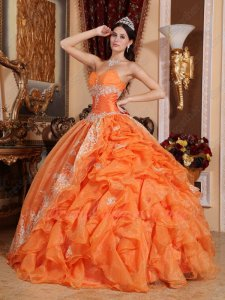 Classical Best Seller Orange Organza Ruffles With Overlay Quinceanera Ball Gown