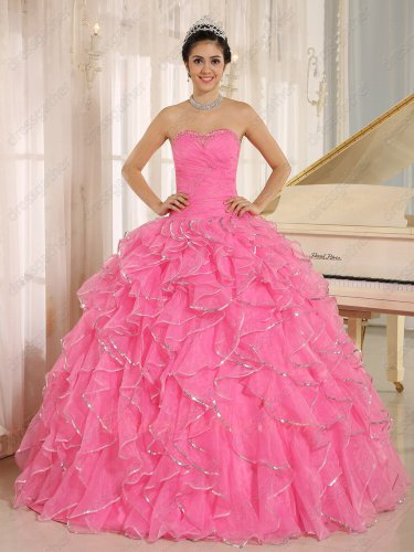 Sparkling Silver Sequin Edge Rose Pink Ruffles Annual Evening Prom Ball Gown