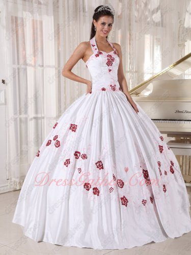 Bright Western Style Halter Quince Court Ball Gown White With Pink/Wine Red Embroidery