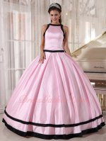 Brief Scoop Quince Court Military Ball Gown Baby Pink With Black Bordure/Bowknot