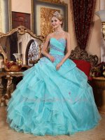 Half Side Ruffles Women Quince Ball Gown Compere/Dancing Apple Green With Lilac Details