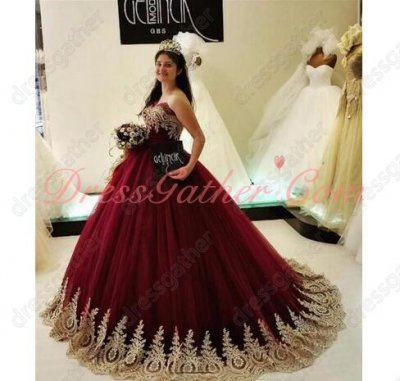 Puffy Princess Burgundy Ball Gown and Gold Lace Edge Little Sweep Train Special Day