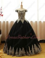 Black With Gold Pineapple Applique Puffy Court Evening Ball Gown Princess