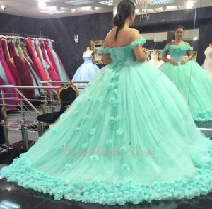 Apple Mint Green Ruching Puffy Tulle Rugosa Rose Skirt 2019 Quince Dress For Girl