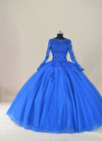 Religious Modest Long Sleeves Royal Blue Winter Church Quinceanera Dress Traditional