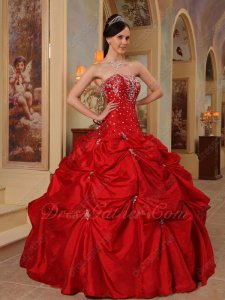 Beaded Wine Red Dropped Waist Best Quinceanera Dress For Cheap