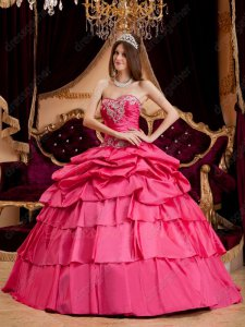 Half Bubble Half Layers Hot Pink Taffeta Puffy Quinceanera Ball Gown Pretty