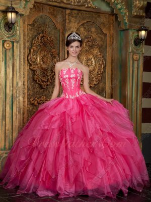 Strapless Cascade Triangular Ruffles Hot Pink Warm Tone Quinceanera Dress Flattering