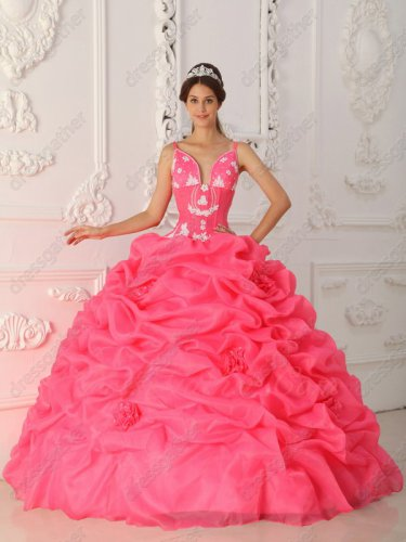 Top Designer Full Bubble With Handwork Flowers Coral Ball Gown Cut-out Bust