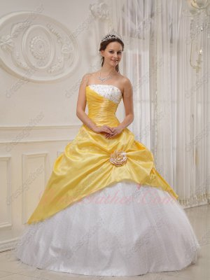 Trimed White Wave Point Dot Tulle Flat Skirt Moon Yellow Overlay Prom Gown