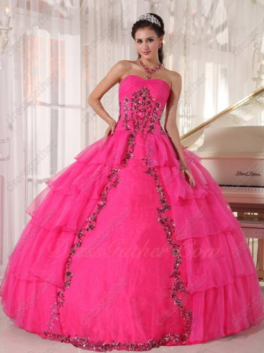 Hot Pink Open Layers Organza Paillette Flowers Decorate Girls Quince Ball Gown