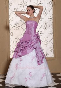 Mauve/Lilac Taffeta Overlay Pure White Modest Prom Ball Gown Palace Style