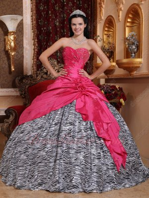 Corset Hot Pink Taffeta Overlay Plain Zebra Quinceanera Ball Gown High Quality
