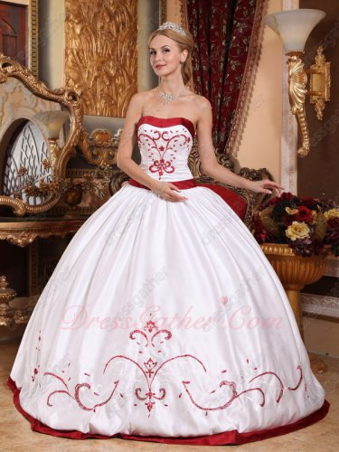 Classical/Village White Quinceanera Dress With Wine Red Embroidery/Bordure