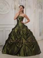 Strapless Olive Green Girls 16th Birthday Quinceanera Dress Affordable