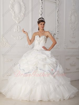 Pure White Ruffles Inexpensive Quinceanera Ball Gown With Shiny Sequin Strip Edge