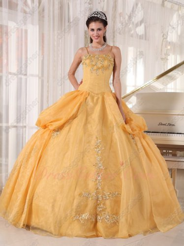 Spaghetti Straps Gold Yellow Symmetric Bubble Open Flat Puffy Quinceanera Ball Gown