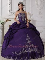 Eggplant Purple Bubble Quinceanera Prom Party Dress Silver Exquisite Embroidery