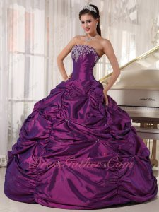 Embroidery Strapless Pansy Pick Up Fluffy Ball Gown Quinceanera Dress With Tulle