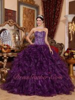 Full Beading Bodice Grape Purple Shiny Organza Dense Ruffles Military Ball Gown