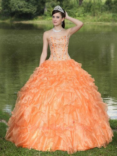 Fishbone Lines Rhinestone Bodice Dense Orange Organza Ruffles Quinceanera Dress