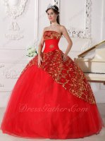 Scarlet Strapless Puffy Quince Ball Gown With Sparkle Sequin Lace Coverage Decorate