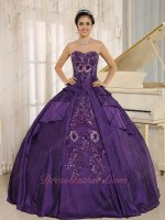 Shiny Applique Eggplant Taffeta Quince Ball Gown Factory Direct Online Low Price