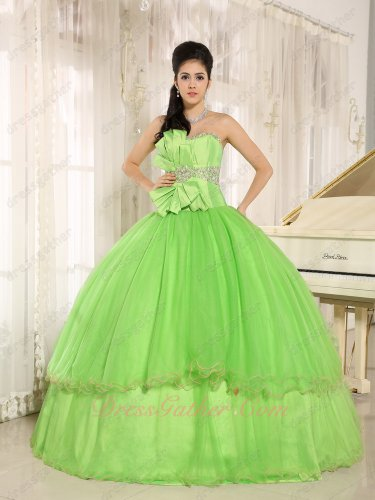 Pretty Spring Green Pin-tucks Tulle Plain Skirt Quinceanera Ball Gown Curly Hemline