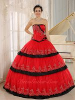 Red/Black Lacework Layers Like Cake Skirt Military Evening Ball Gown Affordable