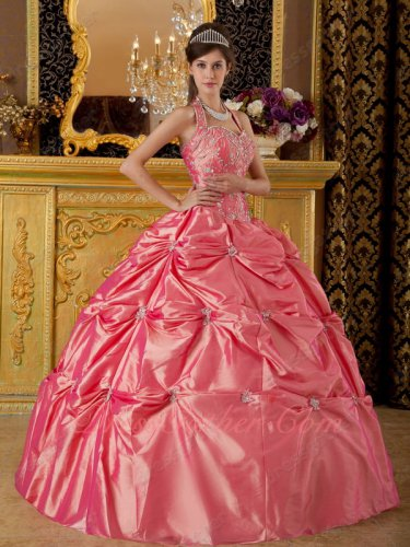 Old Fashion Dust Waltermelon Tafftea Ceremonial Quinceanera Ball Gown Halter Top