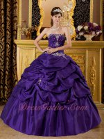 Cheap Strapless Floor Length Puffy Bubble Women Military Ball Gown Blue Purple
