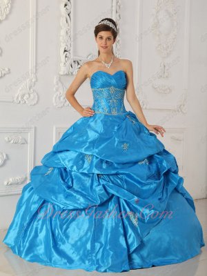 Deep Sky Blue Taffeta Puffy Quinceanera Ball Gown Stars Movie Clothing