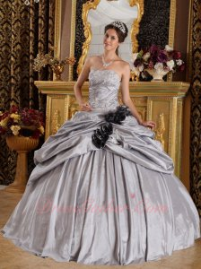 Half Bubble Half Flat Quince Gown Dress Silver Gray Taffeta With Black Handmade Flowers