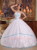 Top Designer White Simple Quinceanera Gown With Aqua Blue Beading/Bordure