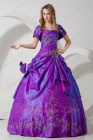 Top Designer Bright Purple Embroidery Quinceanera Dresss With Jacket